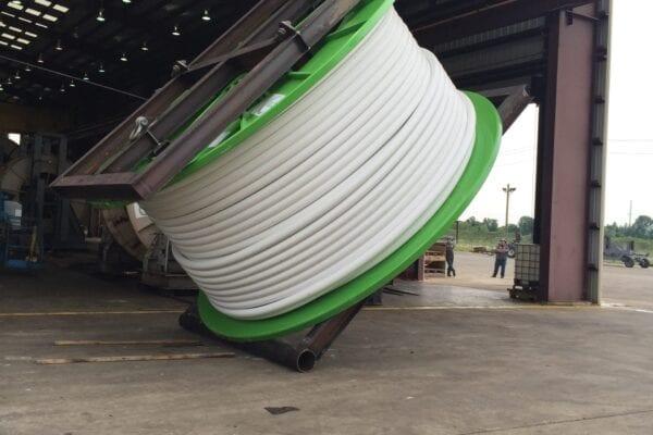 Custom Spool laydown apparatus   shipping tubing